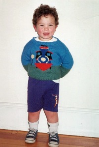 Age 2.5 wearing sweater knit by Nannie