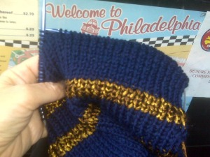 Ravenclaw scarf knit in Philadelphia taxi