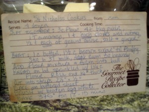 recipe for St. Nicholas cookies