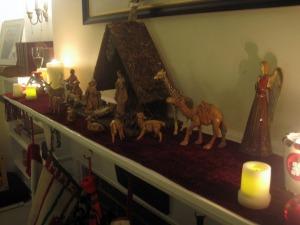 Mantel with nativity creche