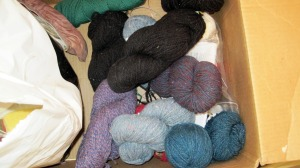 cardboard box of yarn stash