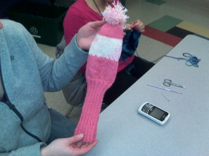 first knitting project: knit golf club cozy