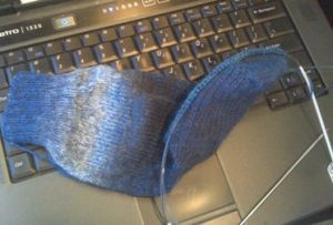 Turned heel of knit sock