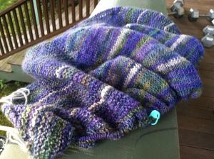 crescent shawl in progress