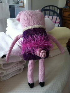 knitted stuffed pig backside