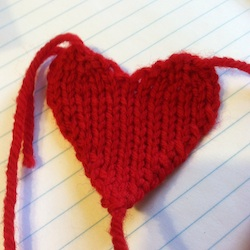 small red knit heart