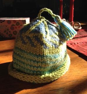 Easy Tassel on Knit Baby Hat