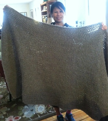 Kathy Shows Off Finished Knit Crate & Barrel Throw