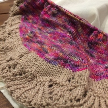 Lace edge and body of Bermudiana shawl in progress