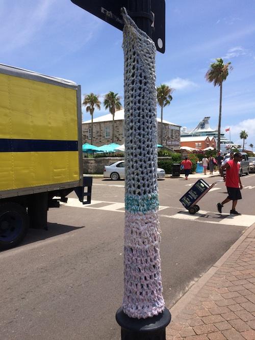 yarn bomb light pole