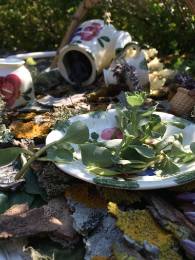 fairy garden with tea set