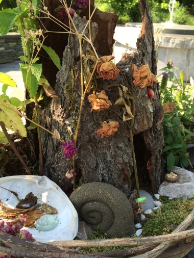 fairy garden with tree hut