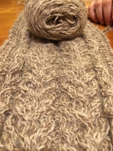 cabled scarf close up