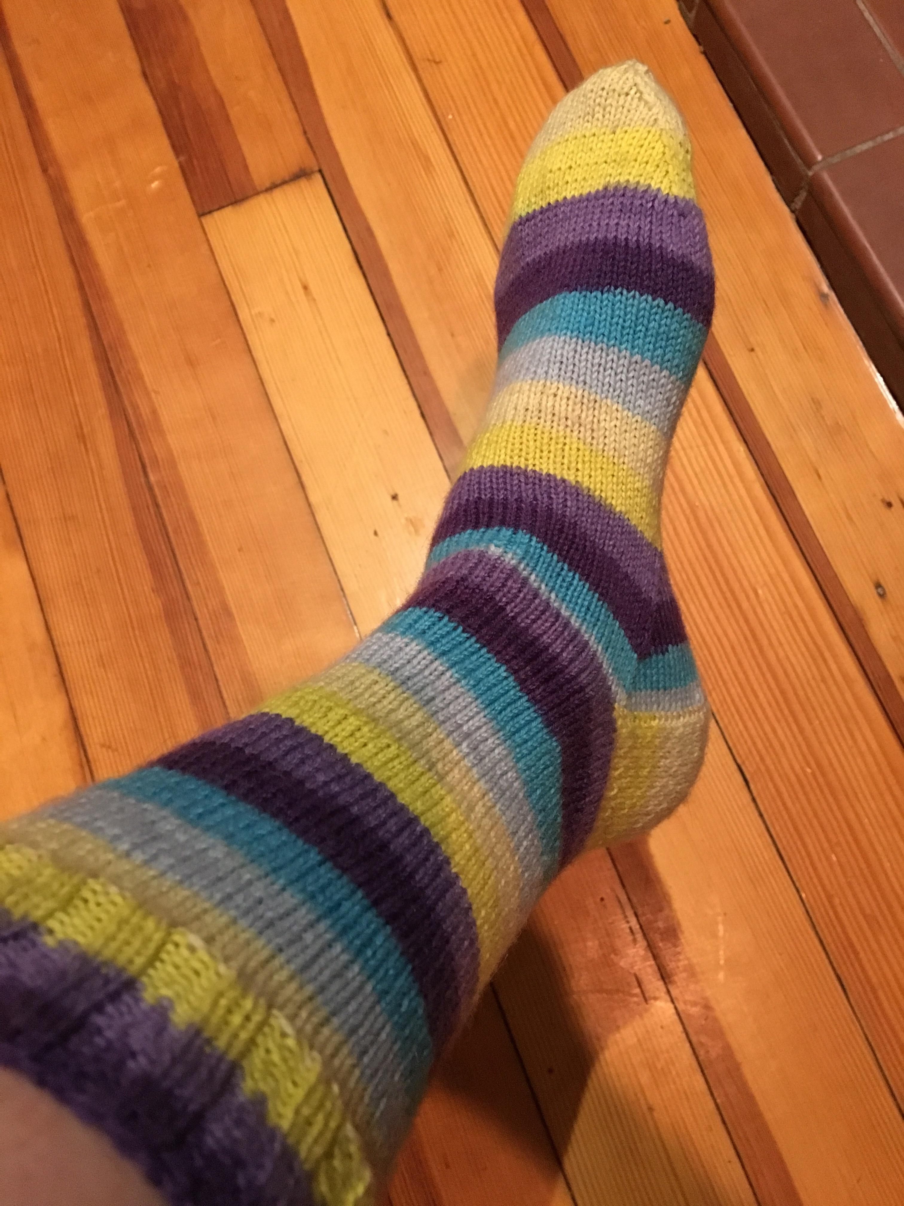 Knit sock on foot