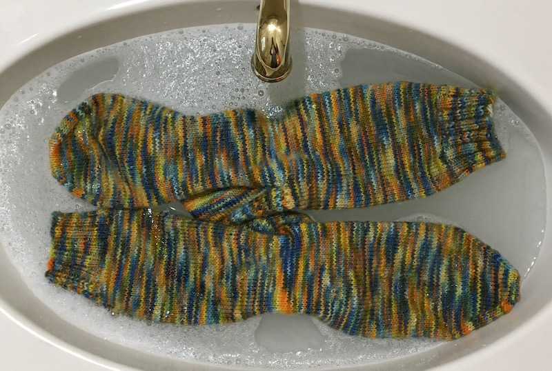 knit socks in sink before blocking