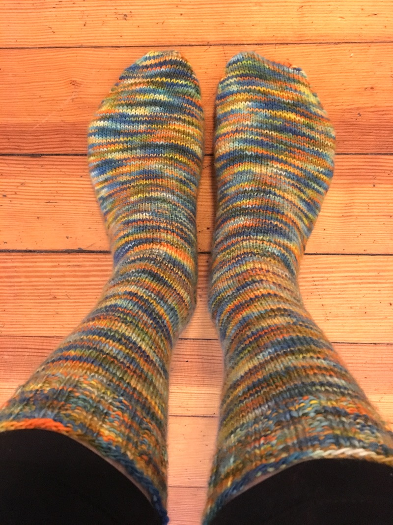 two finished knit socks