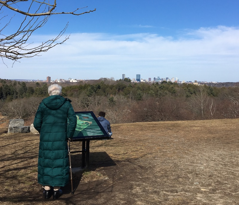 woman in green coat standing on hill overlooking Boston skyline in distance