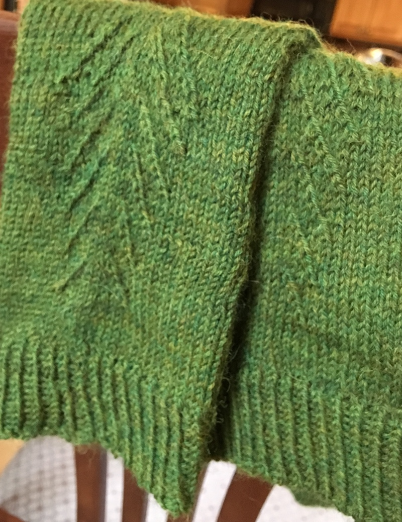 detail of pattern along leg of green knit socks
